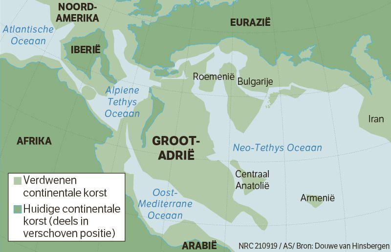 Middellandse Zeegebied is geboren uit oercontinent Groot-Adrië